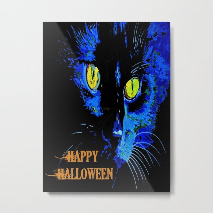 Black Cat Portrait with Happy Halloween Greeting  Metal Print