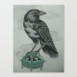 Crow on a Jade Incense Burner Canvas Print