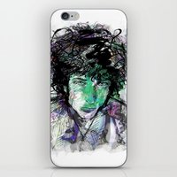 bob dylan iPhone & iPod Skins featuring Bob Dylan by Irmak Akcadogan