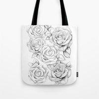 roses Tote Bags featuring roses by iphigenia myos