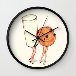 Milk & Cookie Pin-Ups Wall Clock
