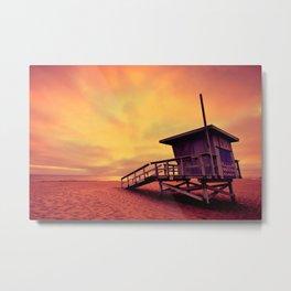 Lifeguard tower at sunset at Hermosa Beach, California Metal Print