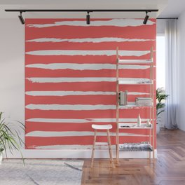 Irregular Hand Painted Stripes Coral Red Wall Mural