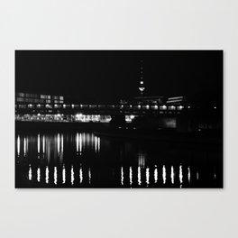 Spree and Fernsehturm B&W Canvas Print