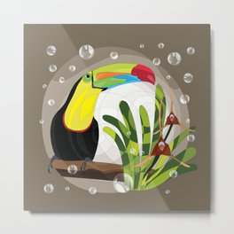 Keel-billed toucan and Dracula orchid Metal Print