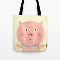 pooh Tote Bags featuring Piggy Pooh by Silva Ware by Walter Silva
