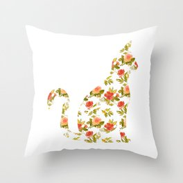 Roses and Peonies Cat Silhouette Throw Pillow