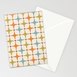 Mid Century Modern Star Pattern 817 Orange Brown Blue and Olive Green Stationery Cards