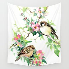 Black white and sparrows wall tapestries society6 sparrows and apple blossom wall tapestry altavistaventures Images