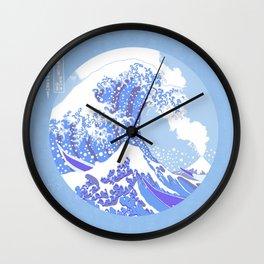 Great Wave Off Kanagawa Blue and White Volcano Eruption Wall Clock