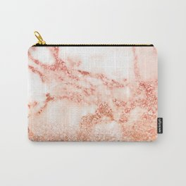 Sparkly Peach Copper Rose Gold Ombre Bohemian Marble Carry-All Pouch