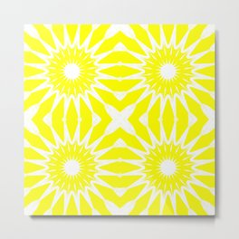 Yellow & White Pinwheel Flowers Metal Print