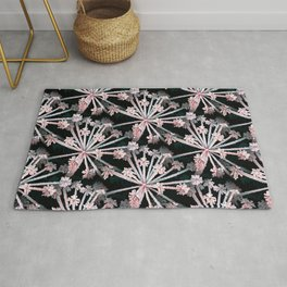 Frost Flower Abstract In Pink And Black Rug