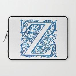Letter Z Elegant Vintage Floral Letterpress Monogram Laptop Sleeve