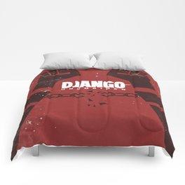 Django Unchained, Quentin Tarantino, minimalist movie poster, Leonardo DiCaprio, spaghetti western Comforters