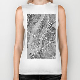 New York City Street Map Biker Tank