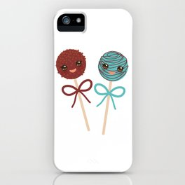 cute funny kawaii chocolate and blue Sweet Cake pops set with bow on white background iPhone Case