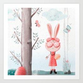A Girl Bunny Art Print