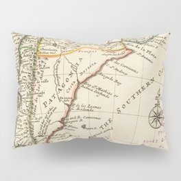 Vintage Map of Chile and Argentina (1732) Pillow Sham