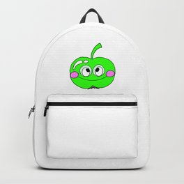 Hand drawn drawing funny green Apple Backpack