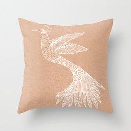 Modern bird lineart drawing on beige - Bloomartgallery Throw Pillow