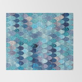 SUMMER MERMAID DARK TEAL Throw Blanket