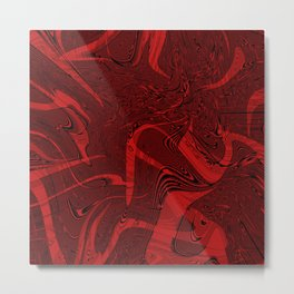 Red abstract marble textures Metal Print