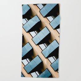 Beige and Aqua Blue Geometric Squares and Rectangles Architecture Florida Building Beach Towel