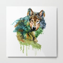 Wolf face watercolor painting Metal Print