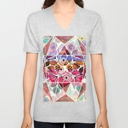 Pink and indigo flower pattern Unisex V-Neck