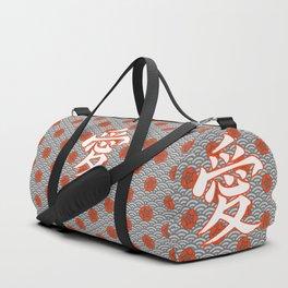 Eastern Love POPPY RED / Japanese character for love Duffle Bag