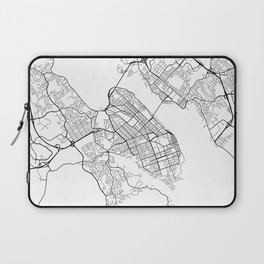 Halifax Map, Canada - Black and White Laptop Sleeve