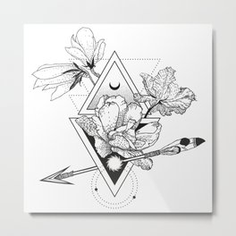 Alchemy symbol with moon and flowers Metal Print