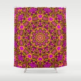 Purple yellow kaleidoscope Shower Curtain
