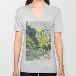 """Gustave Caillebotte """"Allée bordée d'arbres - Alley lined by trees"""" Unisex V-Neck"""