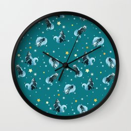 Blue Cosmic Wolf Wall Clock