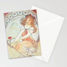 Painting by Alphonse Mucha 1898 // Retro Woman with a Flower Geometric Circle Abstract Stationery Cards