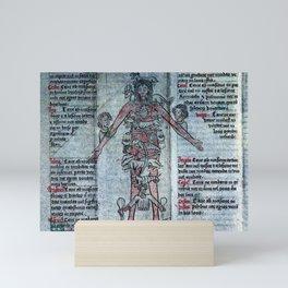 Folding Almanac of Astrological Man, linking astrology to medicine (1463) Mini Art Print