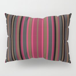 Multi-colored striped pattern in Magenta , black and brown tones . Pillow Sham