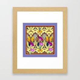 Decorative Cream Color & Fuchsia Morning Glories Floral Yellow Butterflies Framed Art Print