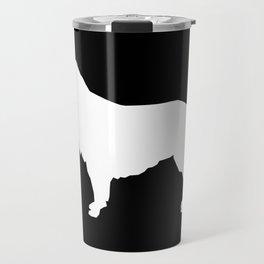 Golden Retriever dog silhouette black and white minimal basic dog lover art Travel Mug