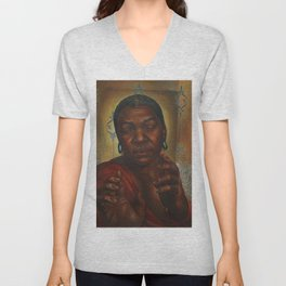 African-American Classical Masterpiece 'Bessie White' by Charles White Unisex V-Neck