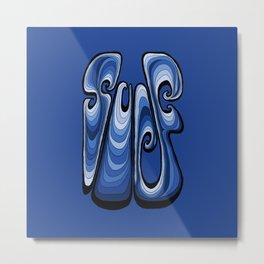 Surf Typography - Deep Blue Metal Print