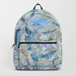Geometric Gilded Stone Tiles in Soft Blues Backpack