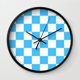Cheerful Blue Checkerboard Pattern Wall Clock