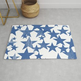 Faded Blue Stars Pattern Rug