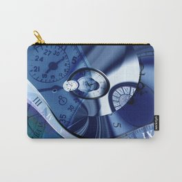 Abstract Blue Clock Design Carry-All Pouch