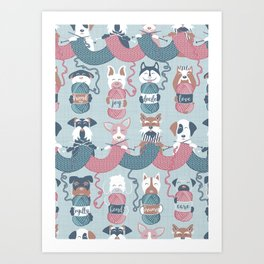 Knitting dog feelings I Art Print