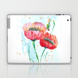 Poppy flowers no 4 Summer illustration watercolor painting Laptop & iPad Skin