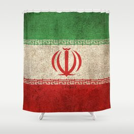 Old and Worn Distressed Vintage Flag of Iran Shower Curtain